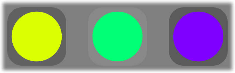 Three circles in a row against a dark background, coloured greenish yellow, green, and purple.
